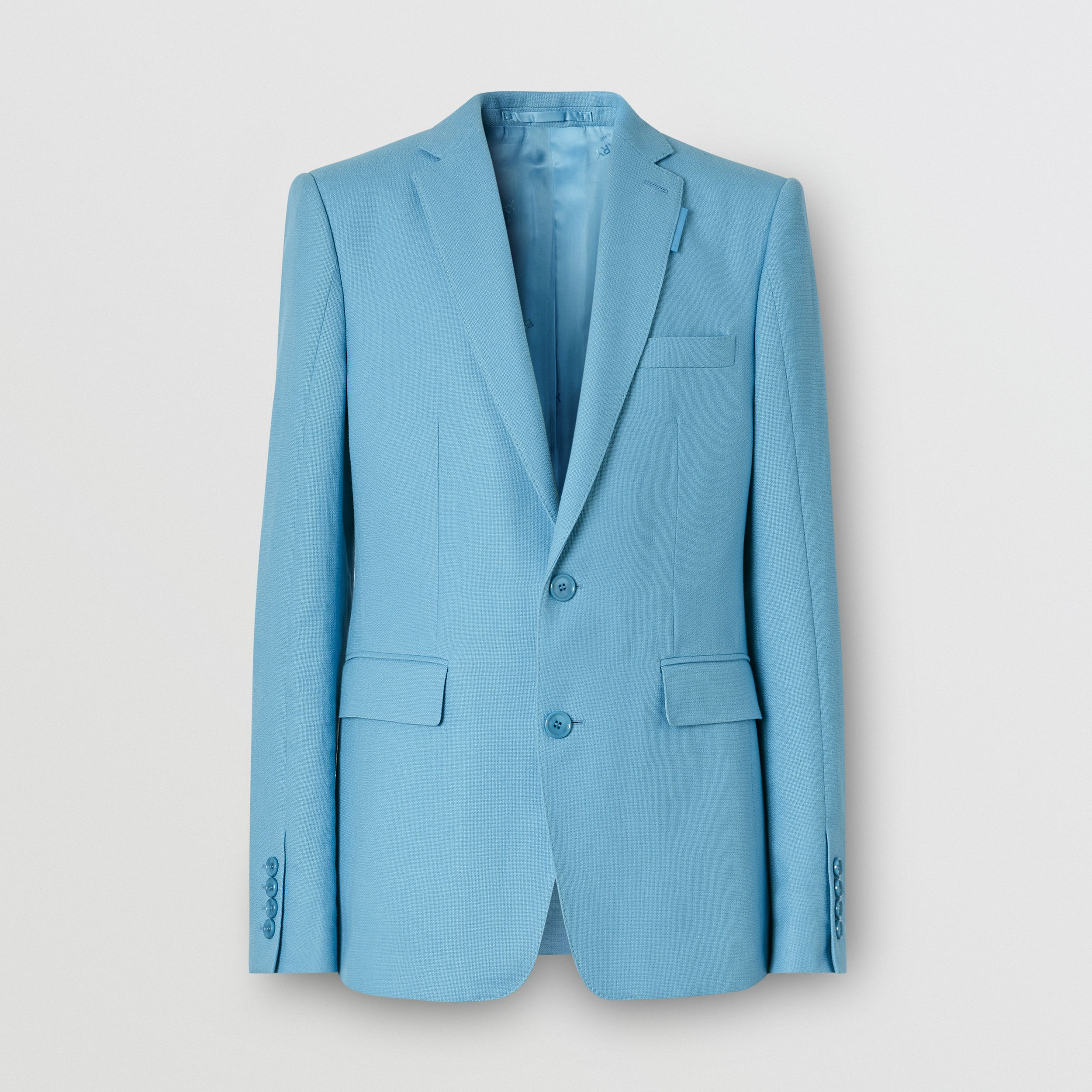 English Fit Wool Ramie Tailored Jacket in Blue Topaz | Burberry - 4