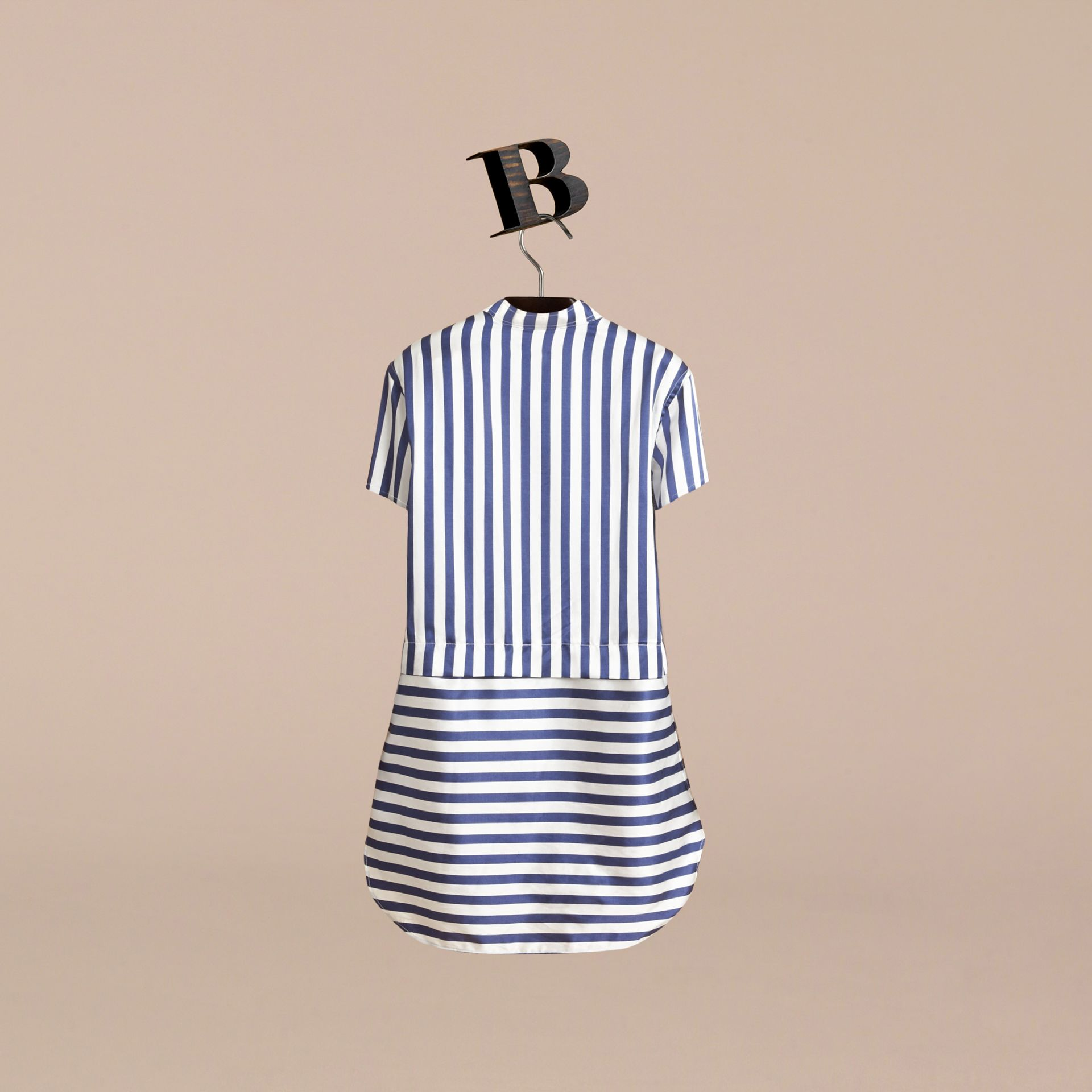 Striped Silk Cotton Shirt Dress in Indigo | Burberry - gallery image 3