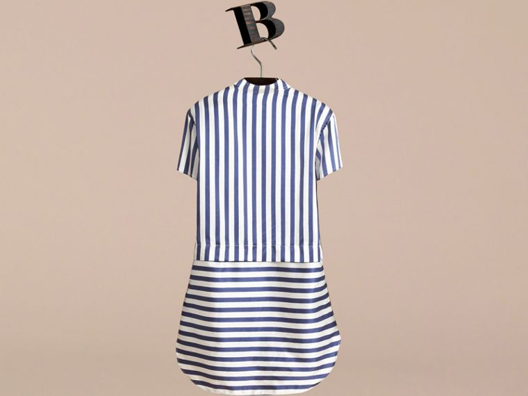 Striped Silk Cotton Shirt Dress in Indigo | Burberry - cell image 2