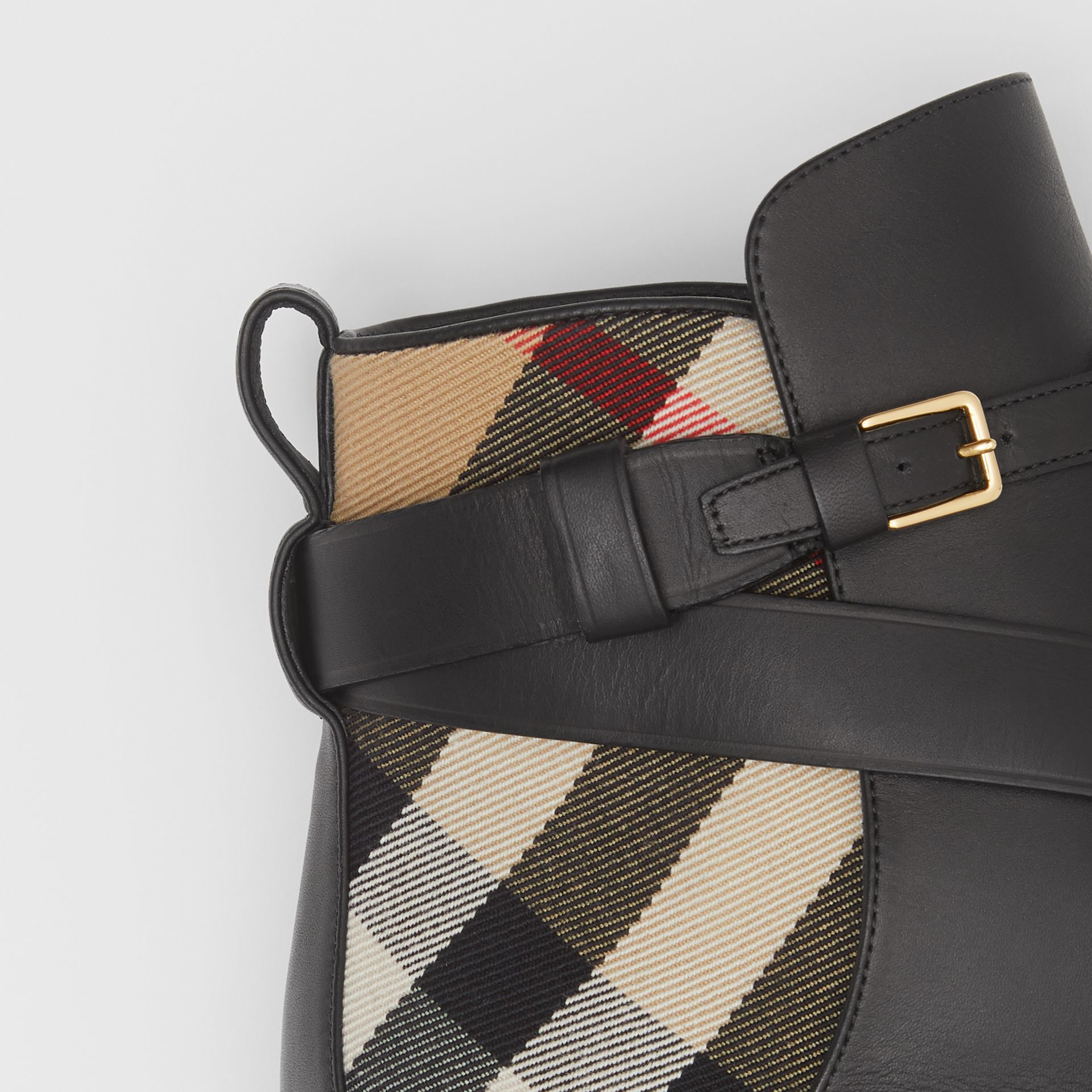 Vintage Check and Leather Ankle Boots in Black/archive Beige - Women | Burberry United Kingdom - gallery image 2
