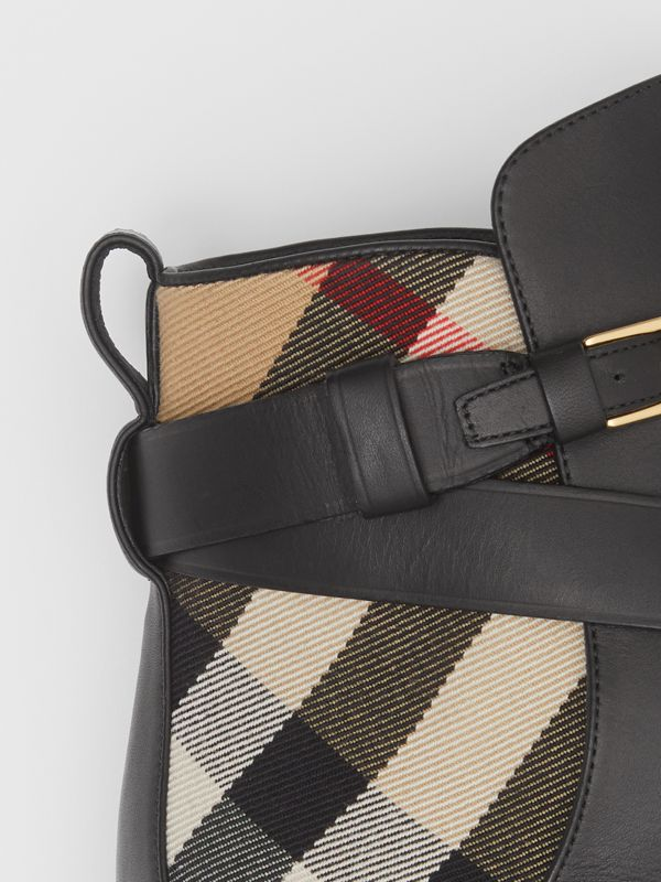 Vintage Check and Leather Ankle Boots in Black/archive Beige - Women | Burberry United Kingdom - cell image 2