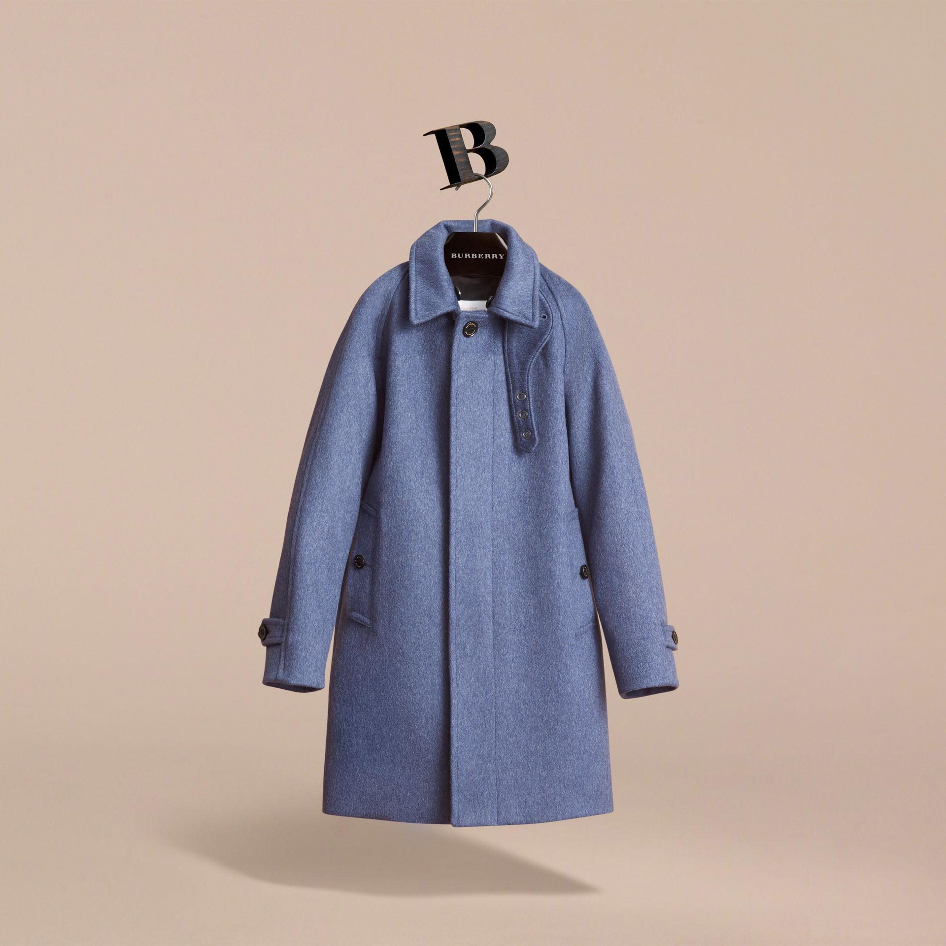 Cashmere Car Coat in Steel Blue Melange - Boy | Burberry - gallery image 3