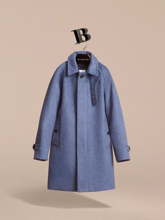 Cashmere Car Coat in Steel Blue Melange - Boy | Burberry - cell image 2