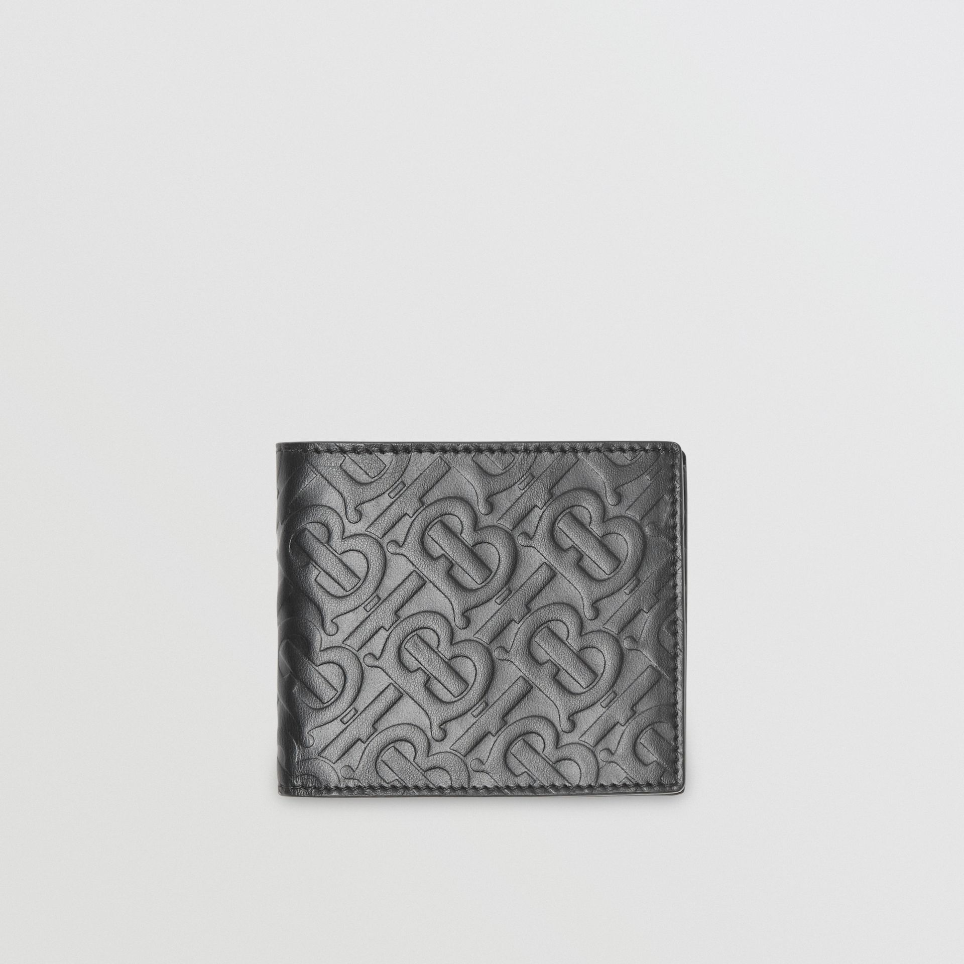 Monogram Leather International Bifold Wallet in Black | Burberry United States - gallery image 0