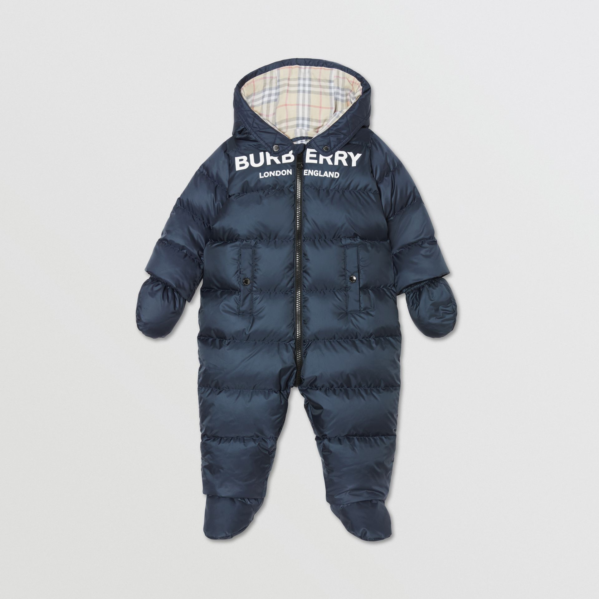 Logo Print Down-filled Puffer Suit in Navy - Children | Burberry United Kingdom - gallery image 0