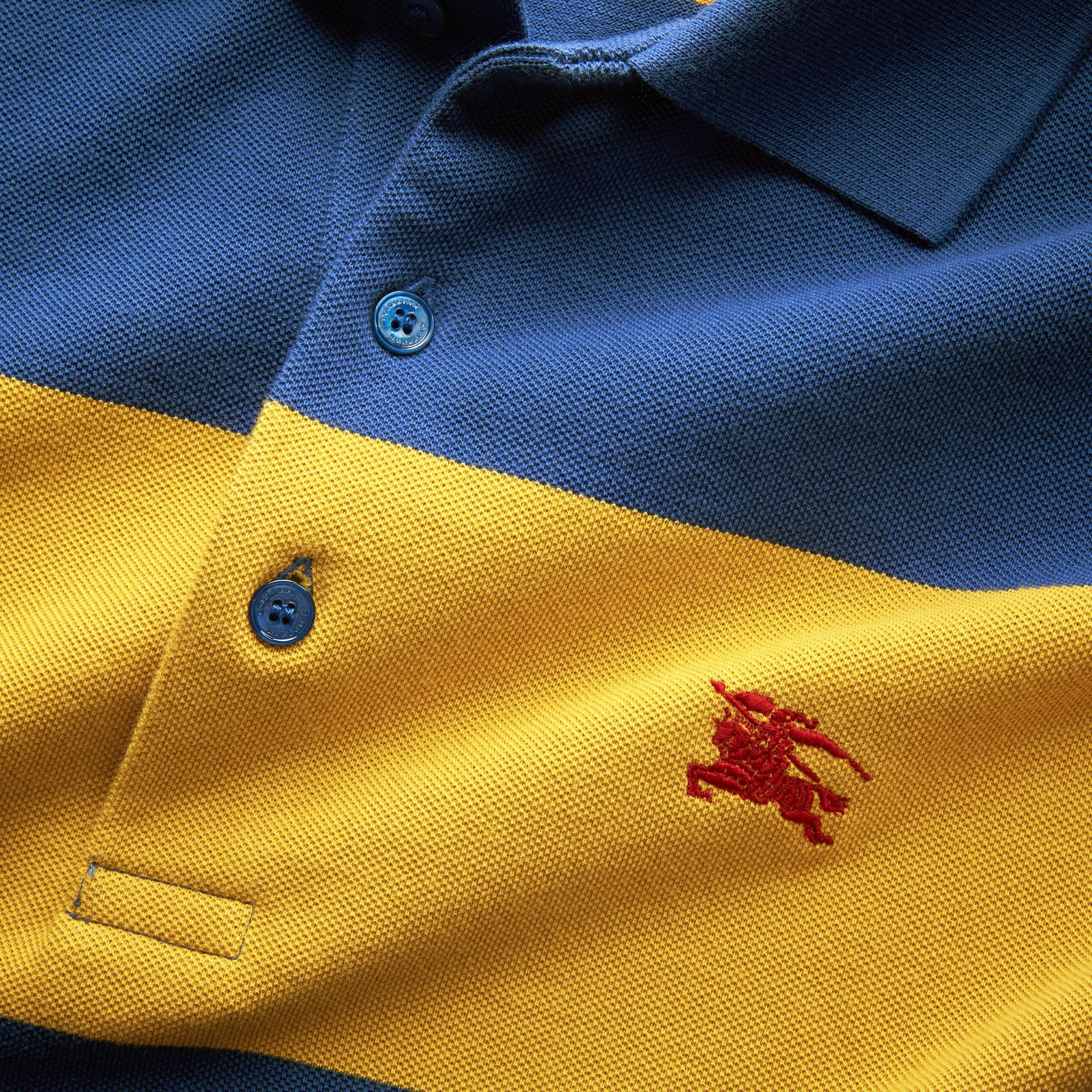 Striped Cotton Piqué Polo Shirt in Ochre Yellow/bright Navy - Men | Burberry - gallery image 2