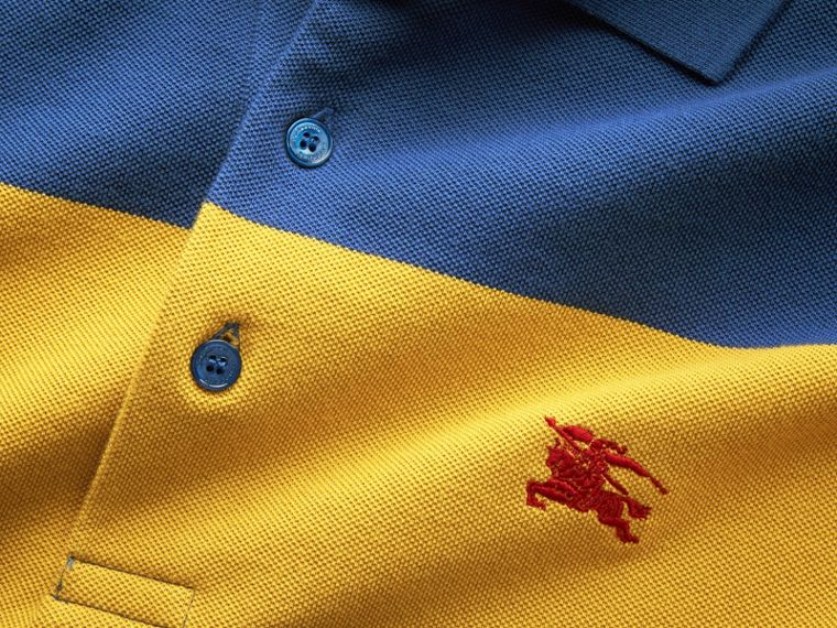 Striped Cotton Piqué Polo Shirt in Ochre Yellow/bright Navy - Men | Burberry - cell image 1