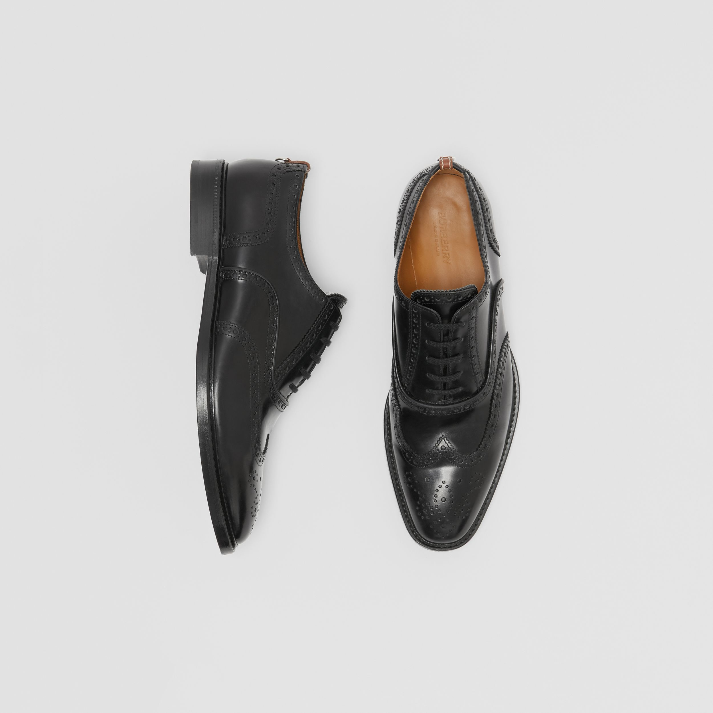 Leather Oxford Brogues in Black - Men | Burberry Hong Kong S.A.R. - 1