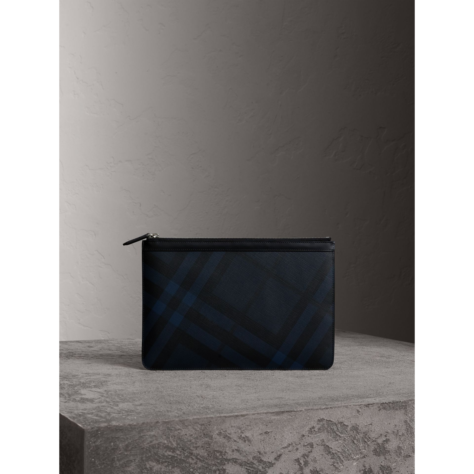 Zipped London Check Pouch in Navy/black - Men | Burberry - gallery image 1