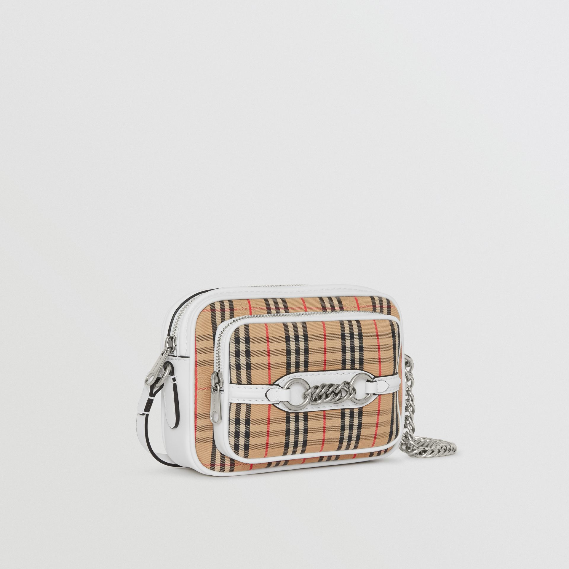 The 1983 Check Link Camera Bag in Chalk White - Women | Burberry - gallery image 6