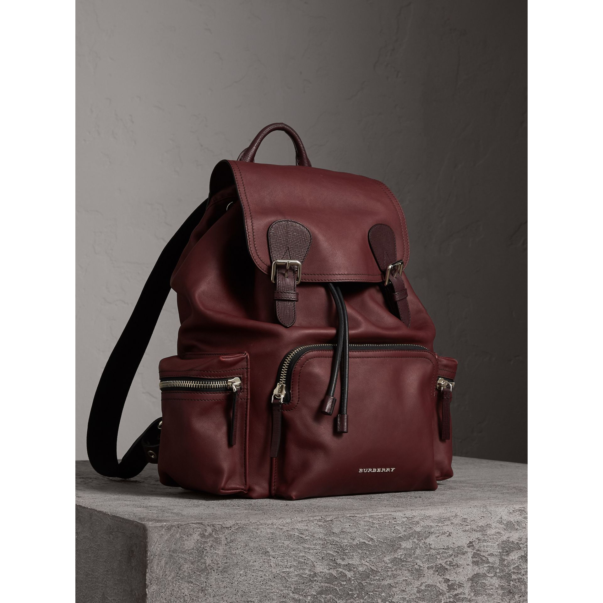 The Large Rucksack in Water-repellent Leather in Burgundy Red - Men | Burberry - gallery image 1