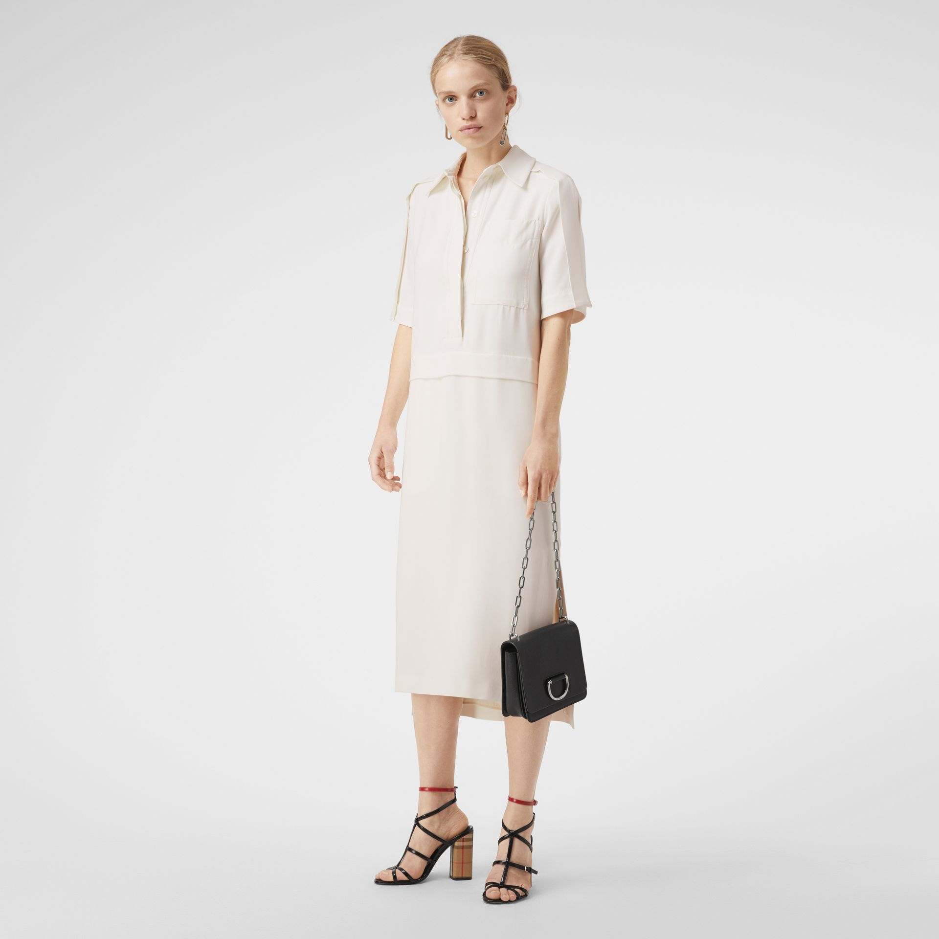 Split Detail Silk Wool Shirt Dress in Off White - Women | Burberry - gallery image 5
