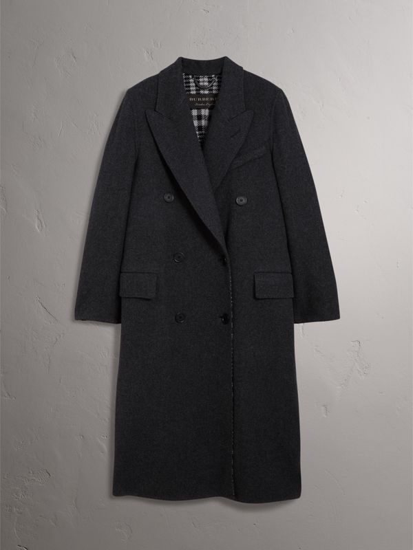 Wool Cashmere Double-breasted Coat in Grey/black - Women | Burberry - cell image 3