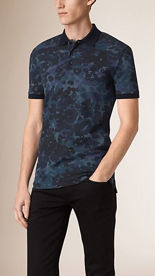 Camouflage Print Cotton Piqué Polo Shirt