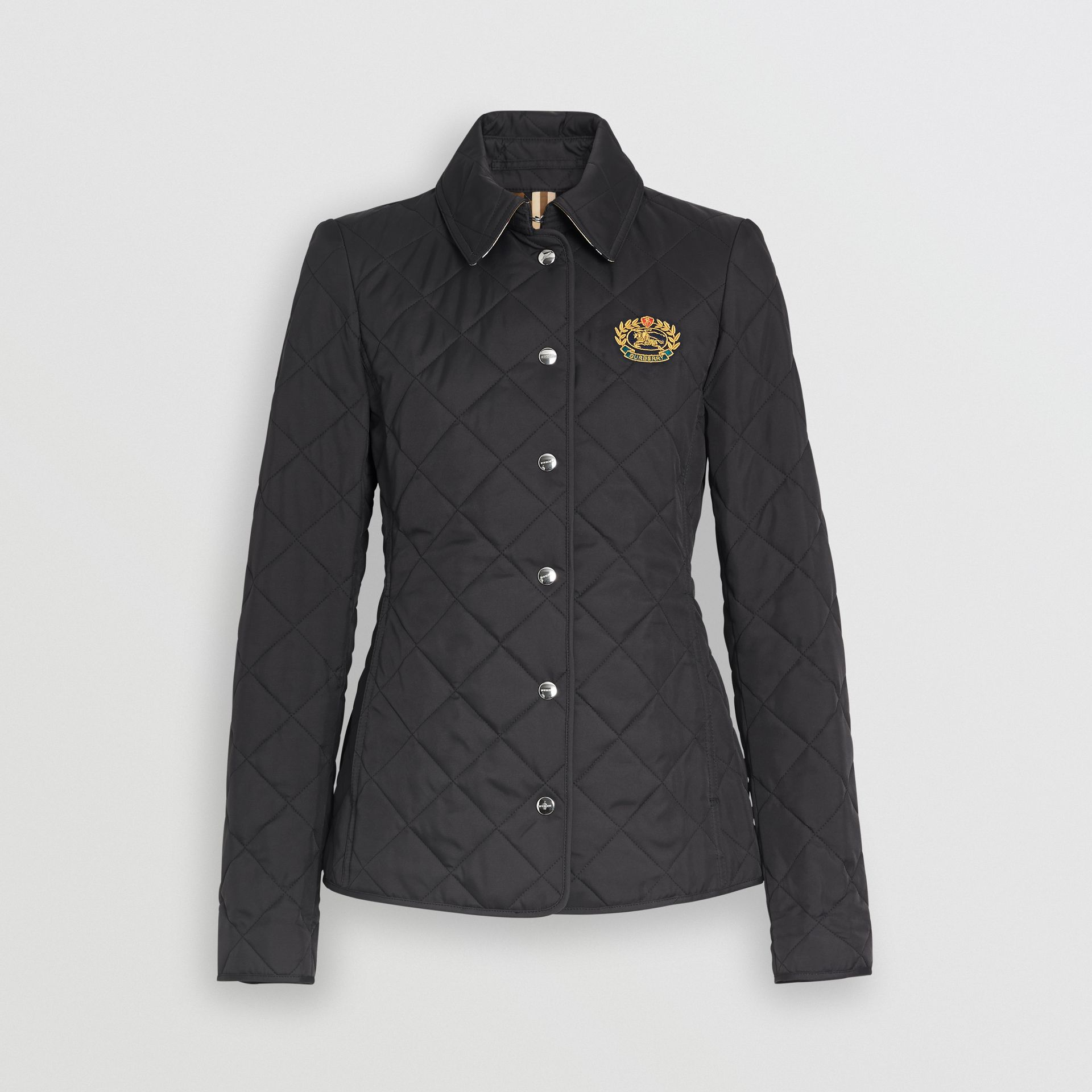 Embroidered Crest Diamond Quilted Jacket in Black - Women | Burberry - gallery image 3