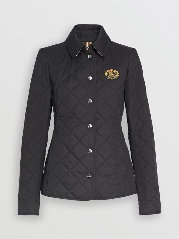 Embroidered Crest Diamond Quilted Jacket in Black - Women | Burberry - cell image 3