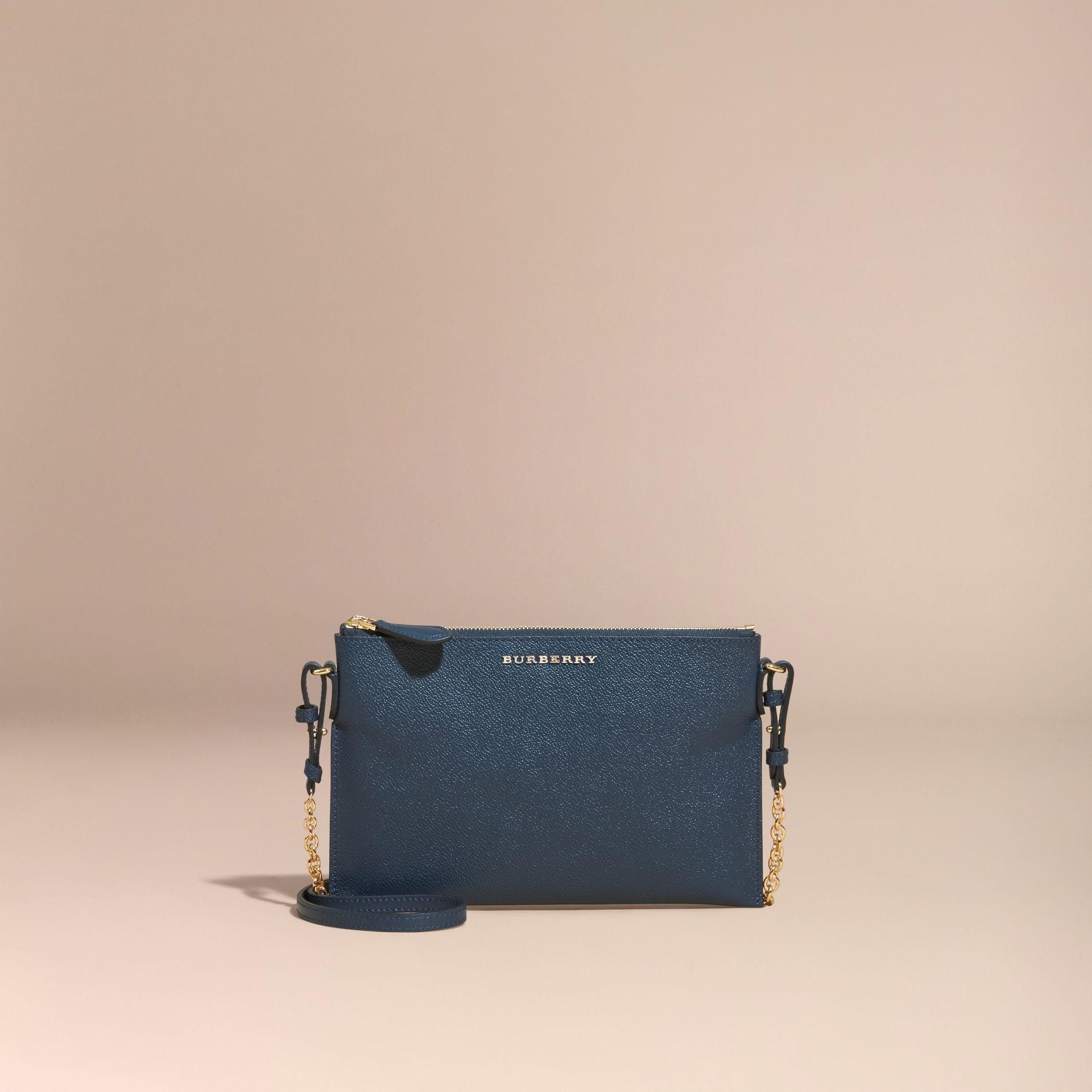 Leather Clutch Bag with Check Lining Blue Carbon - gallery image 9
