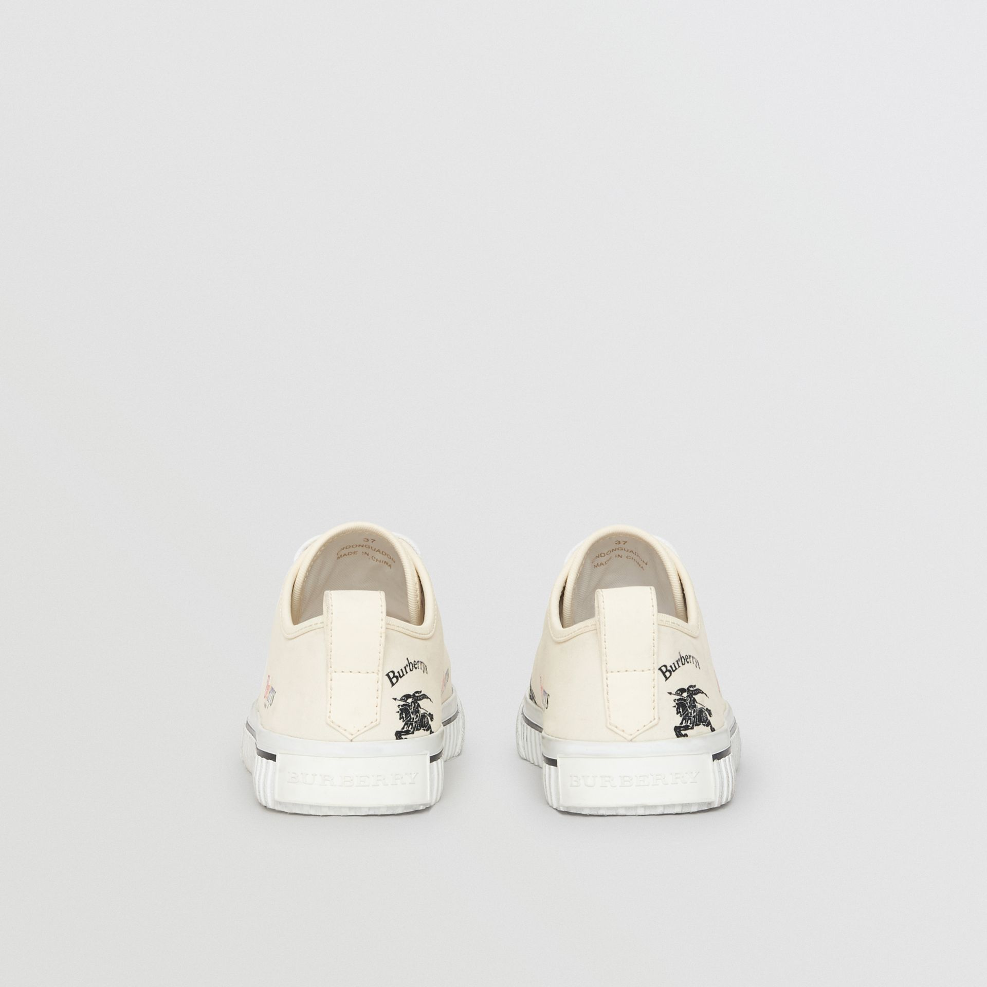 Archive Logo Cotton Sneakers in Off White - Women | Burberry - gallery image 4