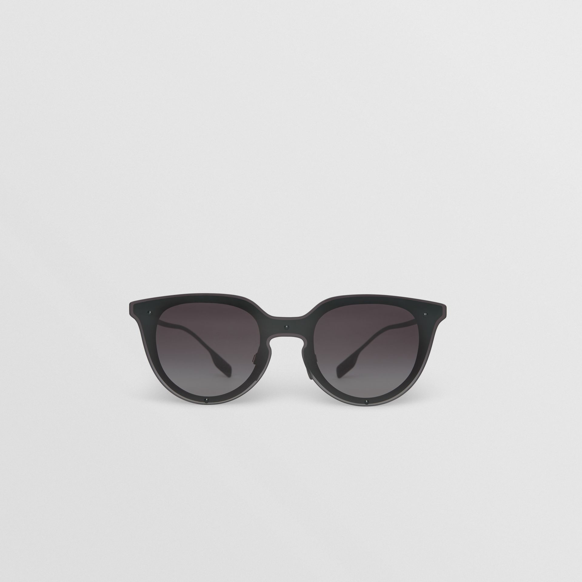 Keyhole Round Frame Shield Sunglasses in Black - Women | Burberry - gallery image 0