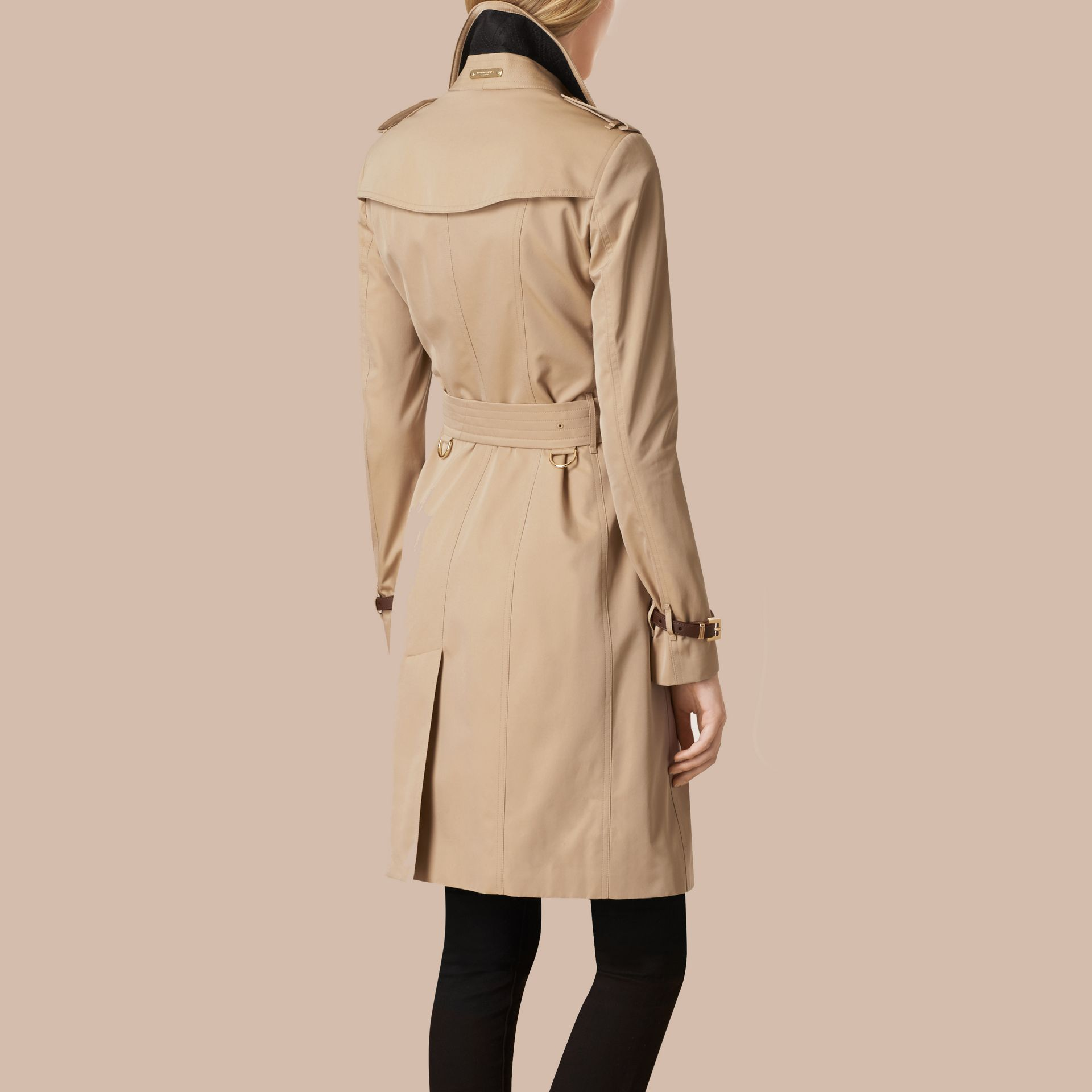 Honey Leather Trim Cotton Gabardine Trench Coat Honey - gallery image 3