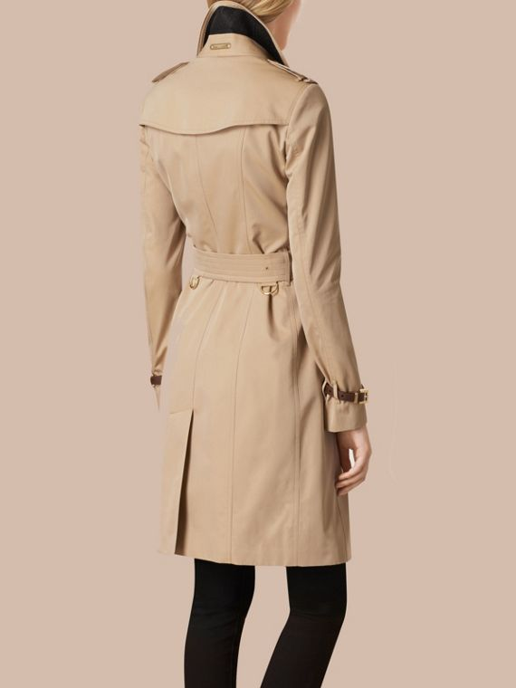 Miele Trench coat in gabardine di cotone con finiture in pelle - cell image 2