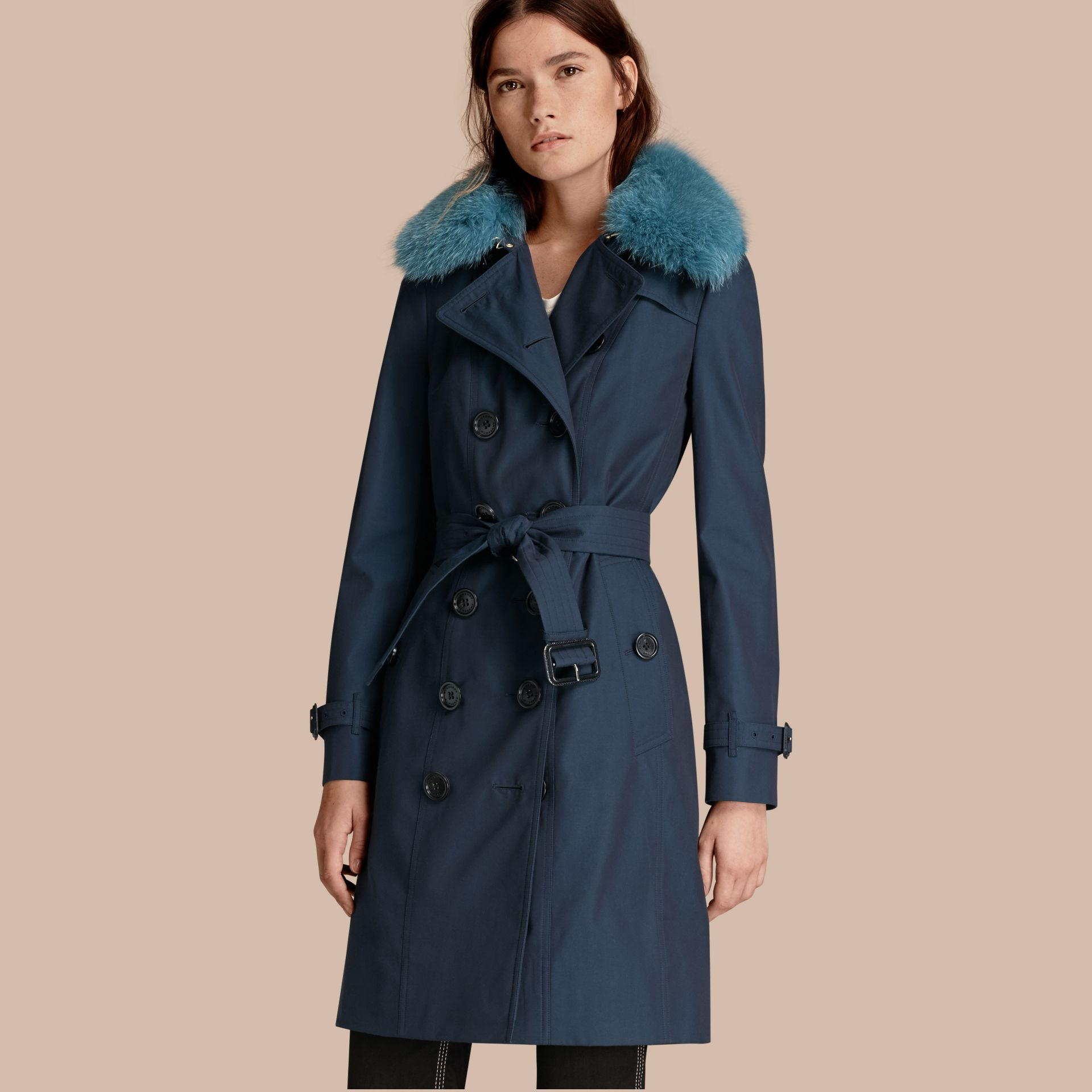 Teal blue Cotton Gabardine Trench Coat with Detachable Fur Collar and Warmer Teal Blue - gallery image 1