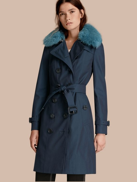 Cotton Gabardine Trench Coat with Detachable Fur Collar and Warmer Teal Blue