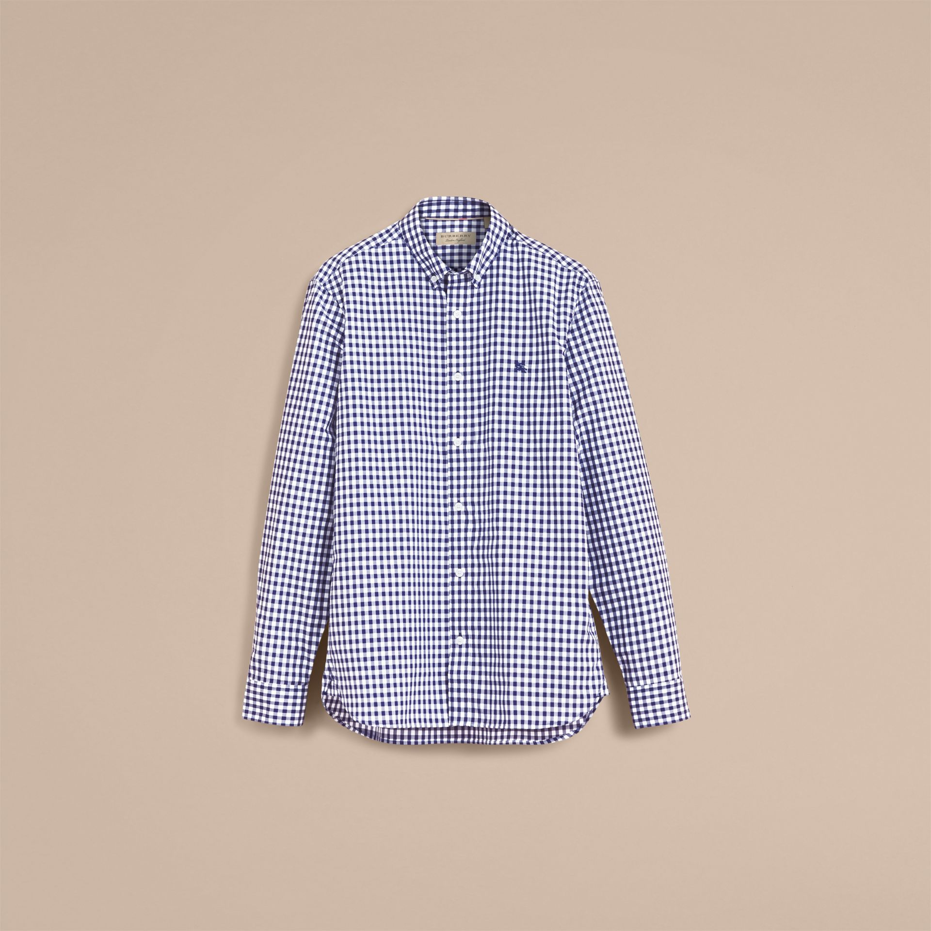 Button-down Collar Gingham Cotton Shirt in Navy - Men | Burberry - gallery image 4