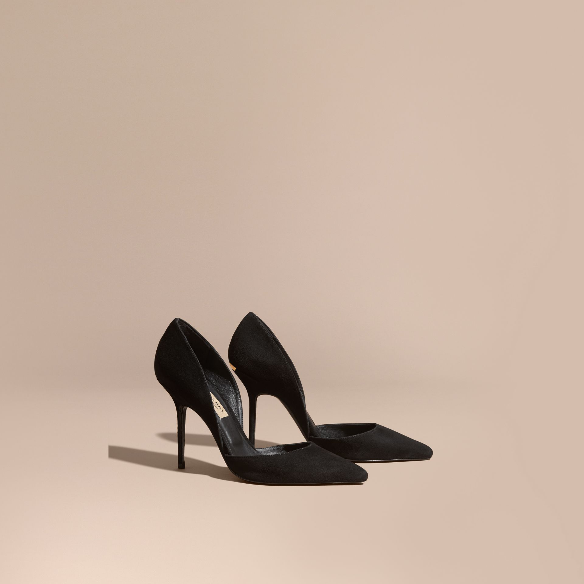 Point-toe Suede D'Orsay Pumps in Black - Women | Burberry - gallery image 1