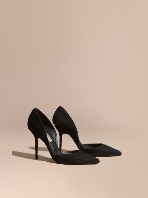 Point-toe Suede D'Orsay Pumps Black