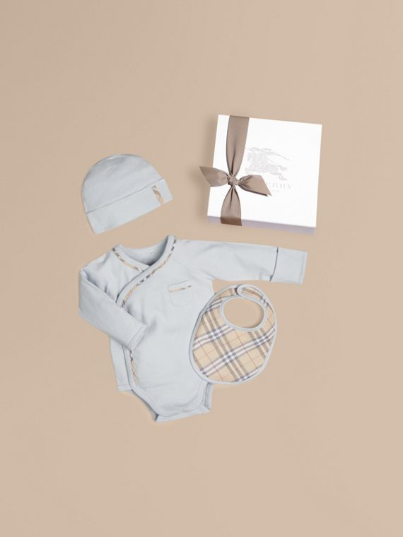 Check Cotton Three-piece Baby Gift Set in Ice Blue | Burberry Singapore