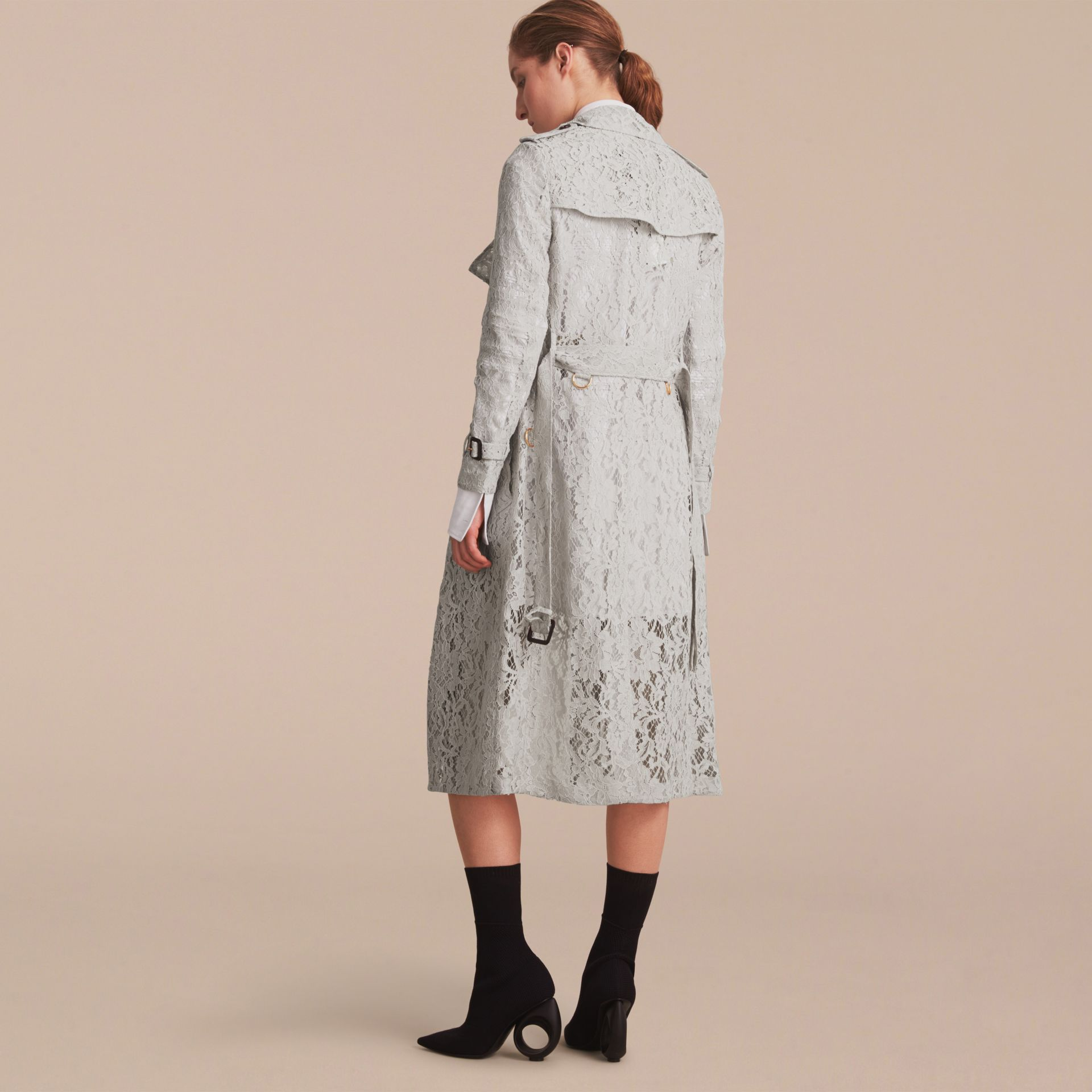 Macramé Lace Trench Coat Pale Grey - gallery image 3