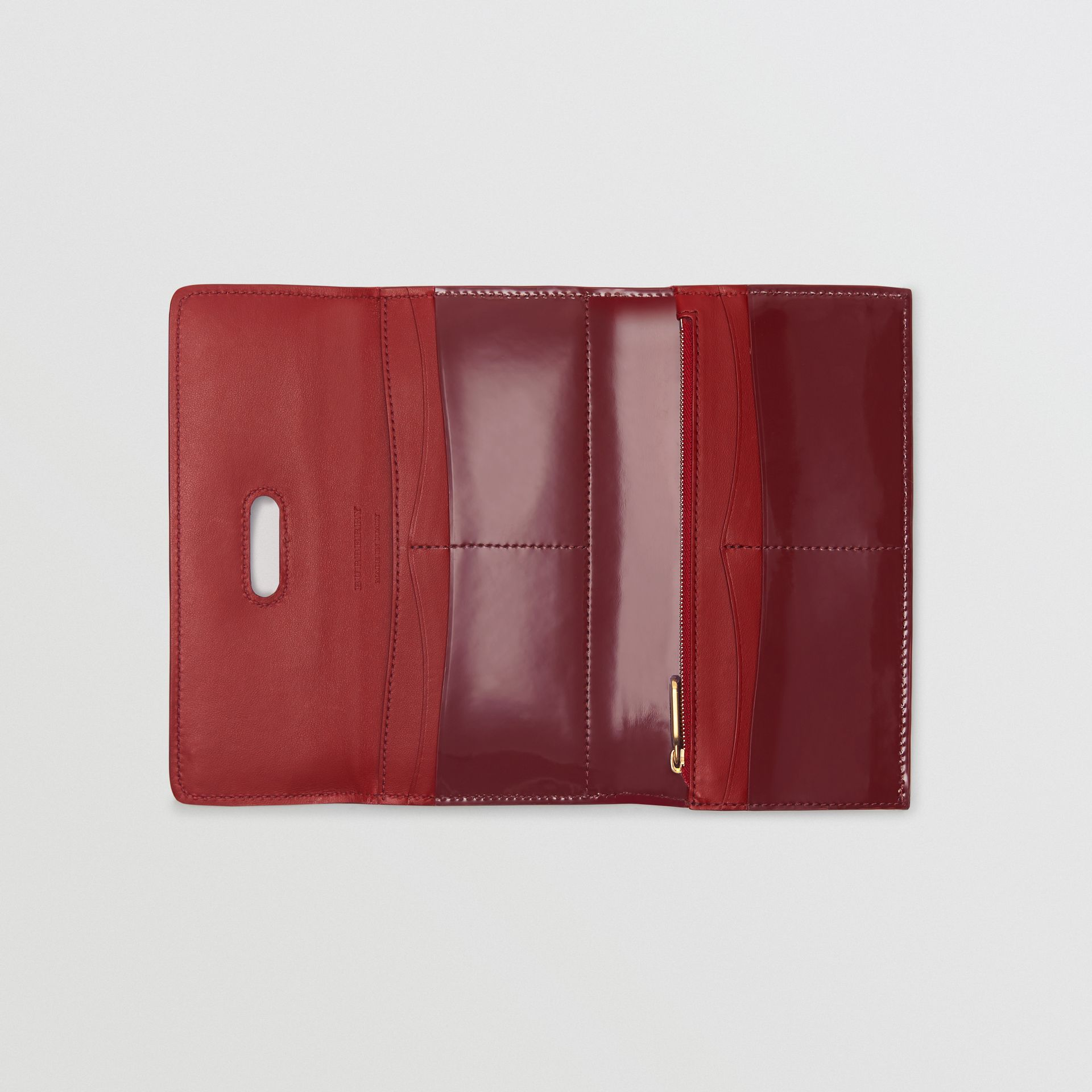 D-ring Patent Leather Continental Wallet in Crimson - Women | Burberry - gallery image 2