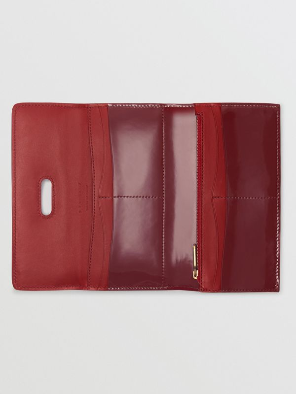D-ring Patent Leather Continental Wallet in Crimson - Women | Burberry - cell image 2