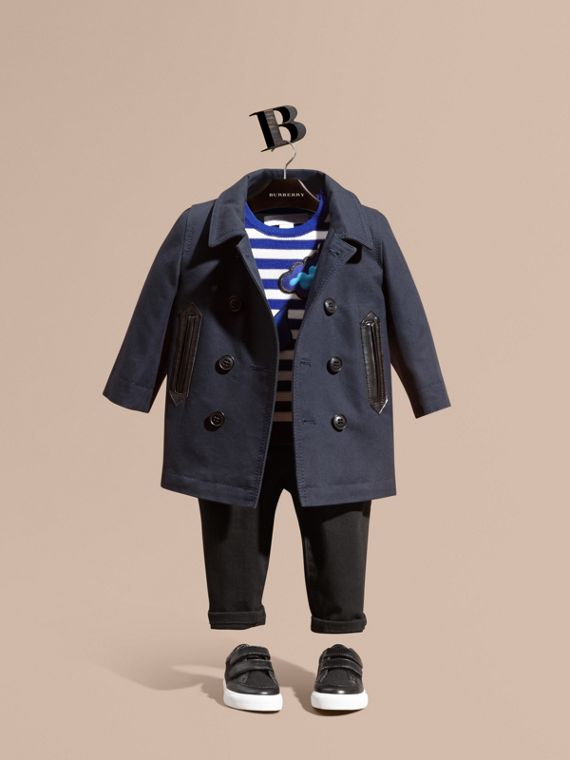 Double-breasted Cotton Pea Coat