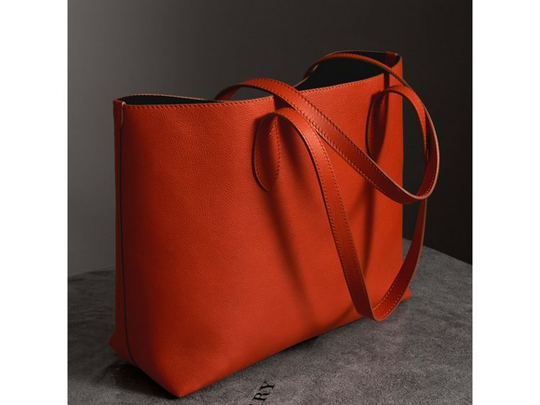 Embossed Leather Tote in Dark Clementine | Burberry United States - cell image 4