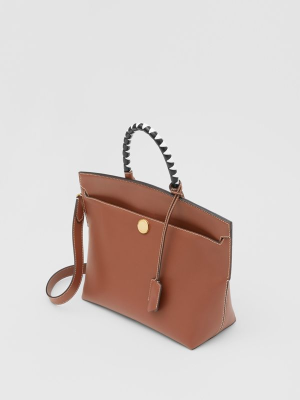 Small Leather Society Top Handle Bag in Tan - Women | Burberry - cell image 3