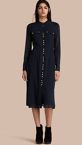 Silk Dress with Polished Buttons