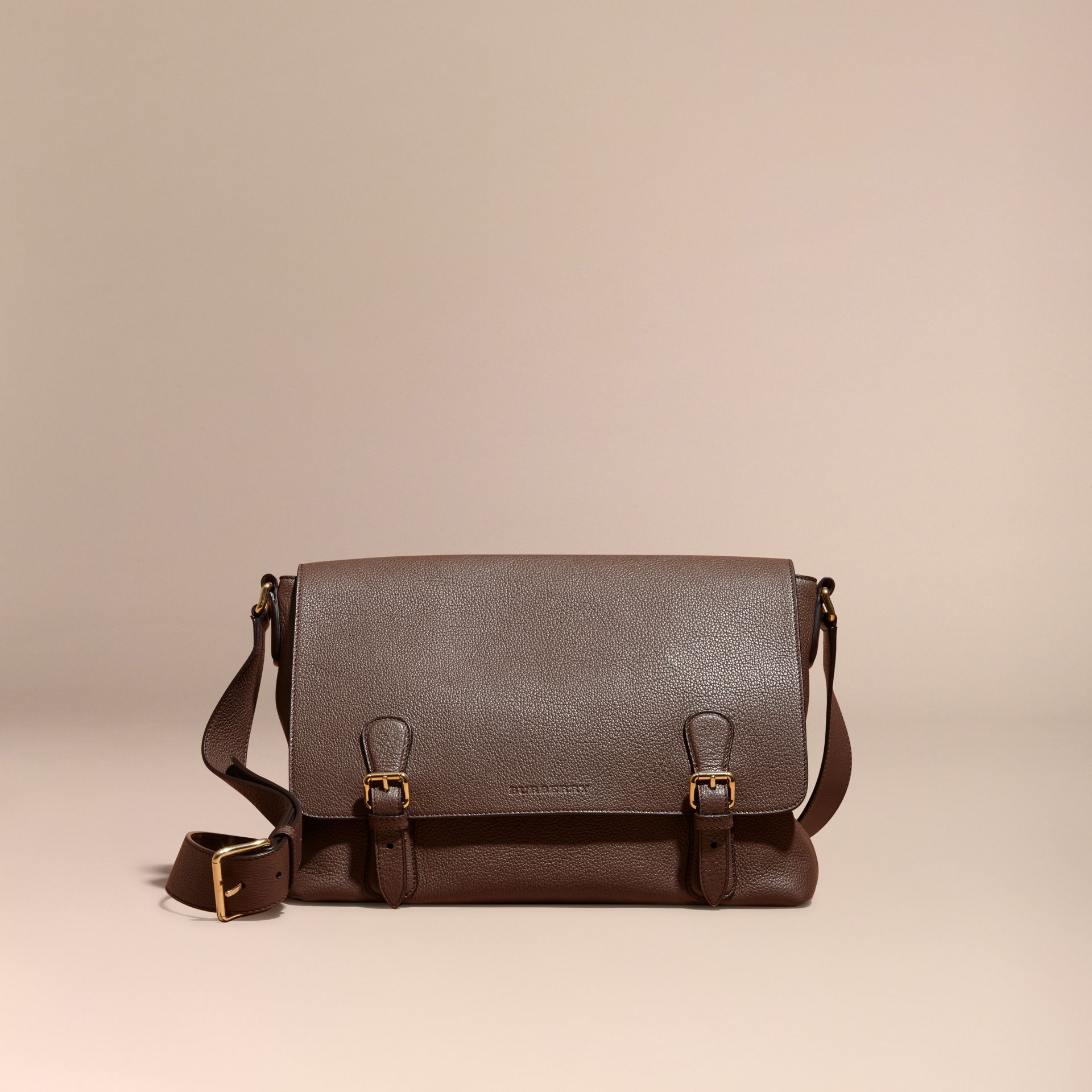 Deep taupe brown Grainy Leather Messenger Bag Deep Taupe Brown - gallery image 8