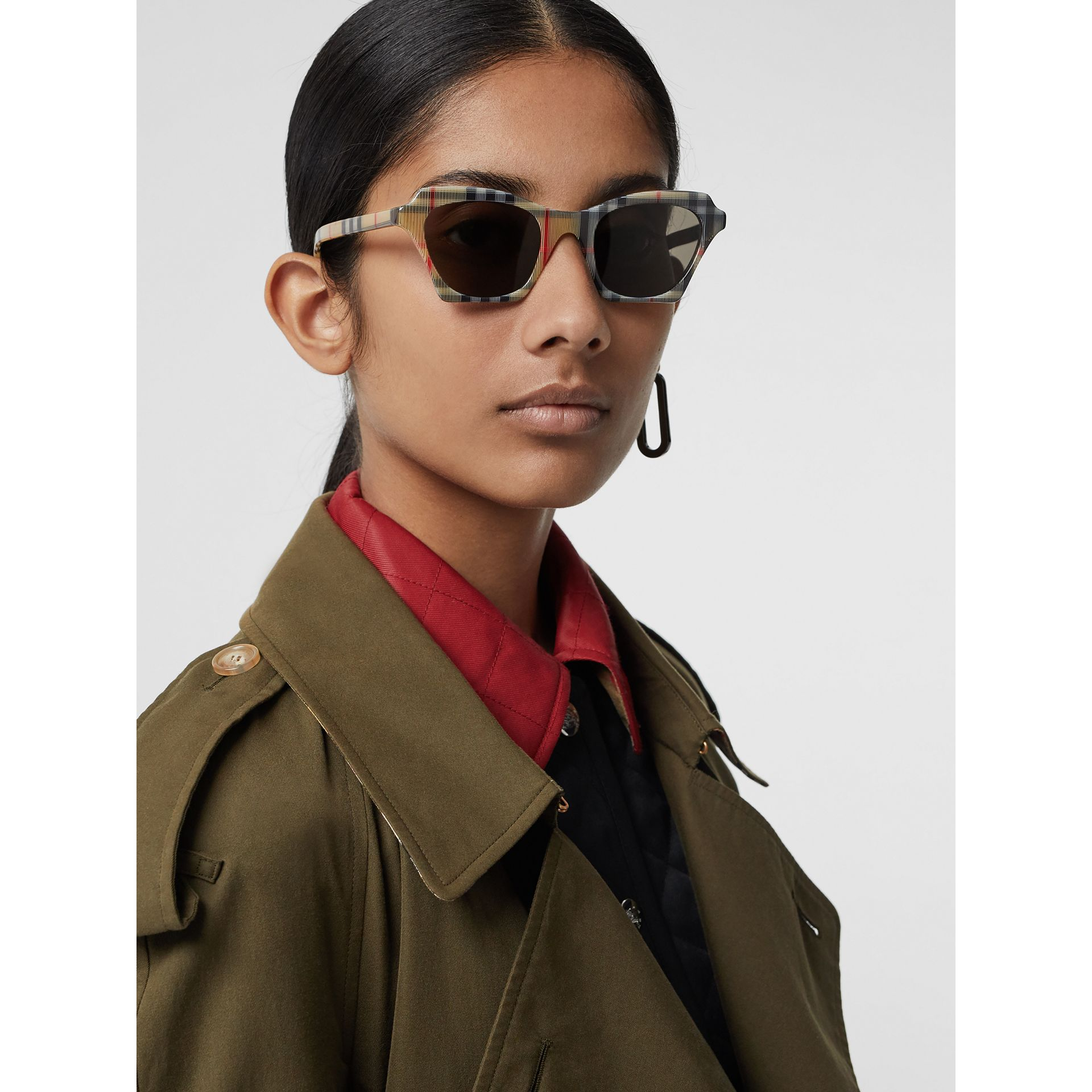 Vintage Check Butterfly Frame Sunglasses in Antique Yellow - Women | Burberry Singapore - gallery image 2