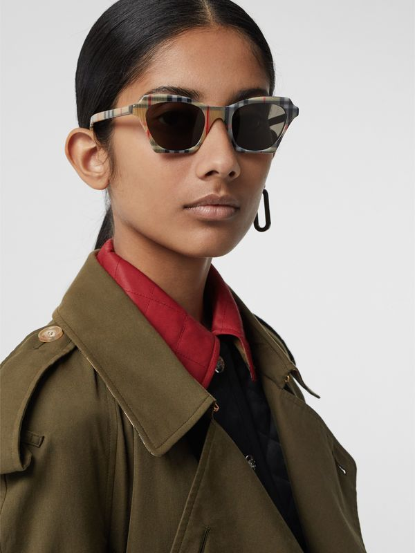 Vintage Check Butterfly Frame Sunglasses in Antique Yellow - Women | Burberry Hong Kong - cell image 2