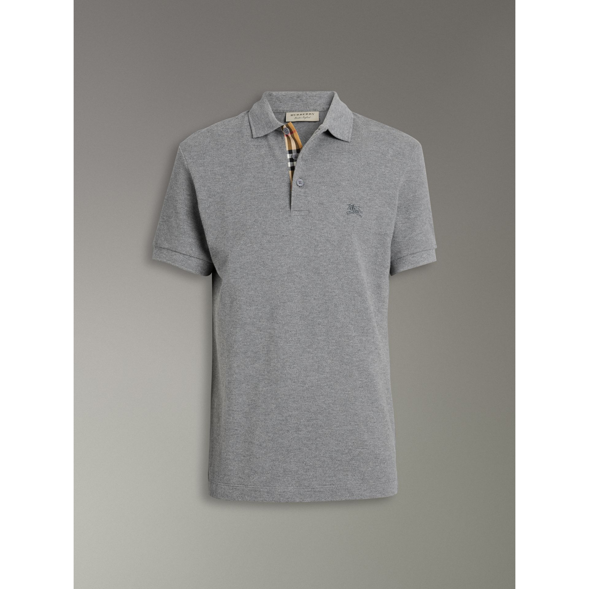 Contrast Collar Cotton Polo Shirt in Mid Grey Melange - Men | Burberry - gallery image 3