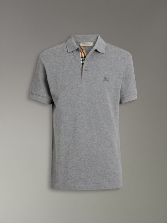 Contrast Collar Cotton Polo Shirt in Mid Grey Melange - Men | Burberry Canada - cell image 3