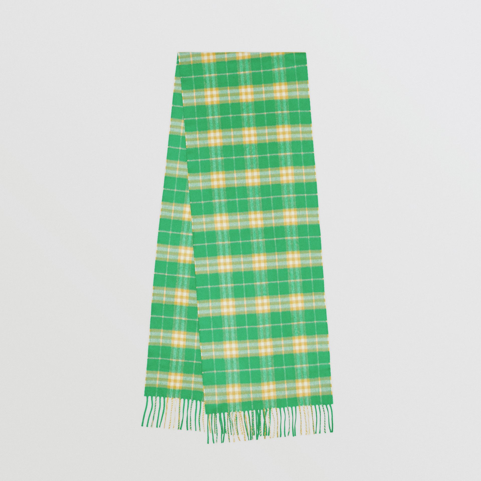 The Classic Vintage Check Cashmere Scarf in Tourmaline Green | Burberry - gallery image 0