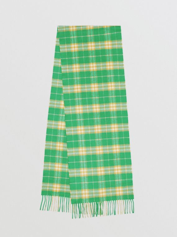 The Classic Vintage Check Cashmere Scarf in Tourmaline Green