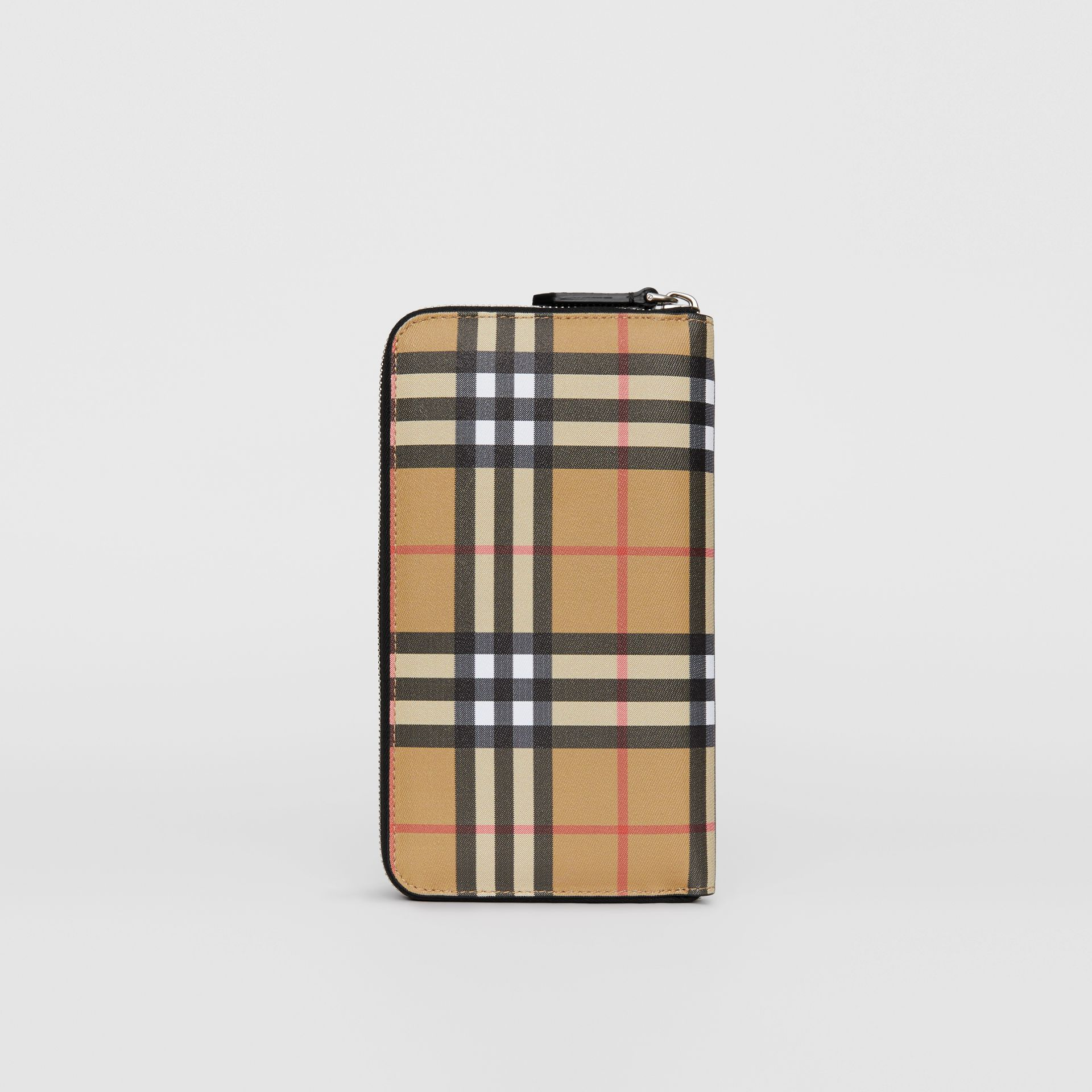 Vintage Check and Leather Ziparound Wallet in Antique Yellow/black - Men | Burberry Singapore - gallery image 5