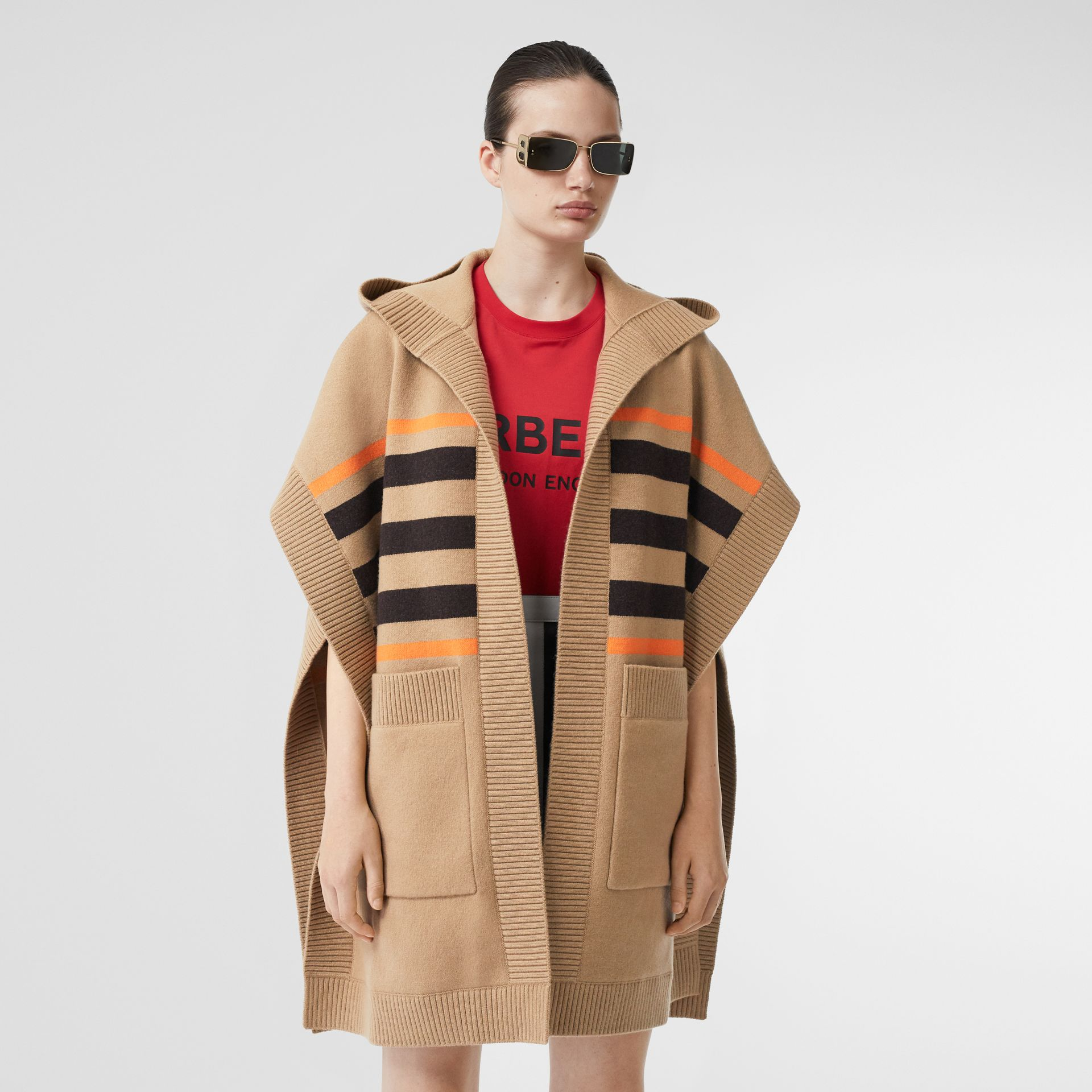 Monogram Motif Intarsia Wool Cashmere Blend Cape in Archive Beige - Women | Burberry United Kingdom - gallery image 6