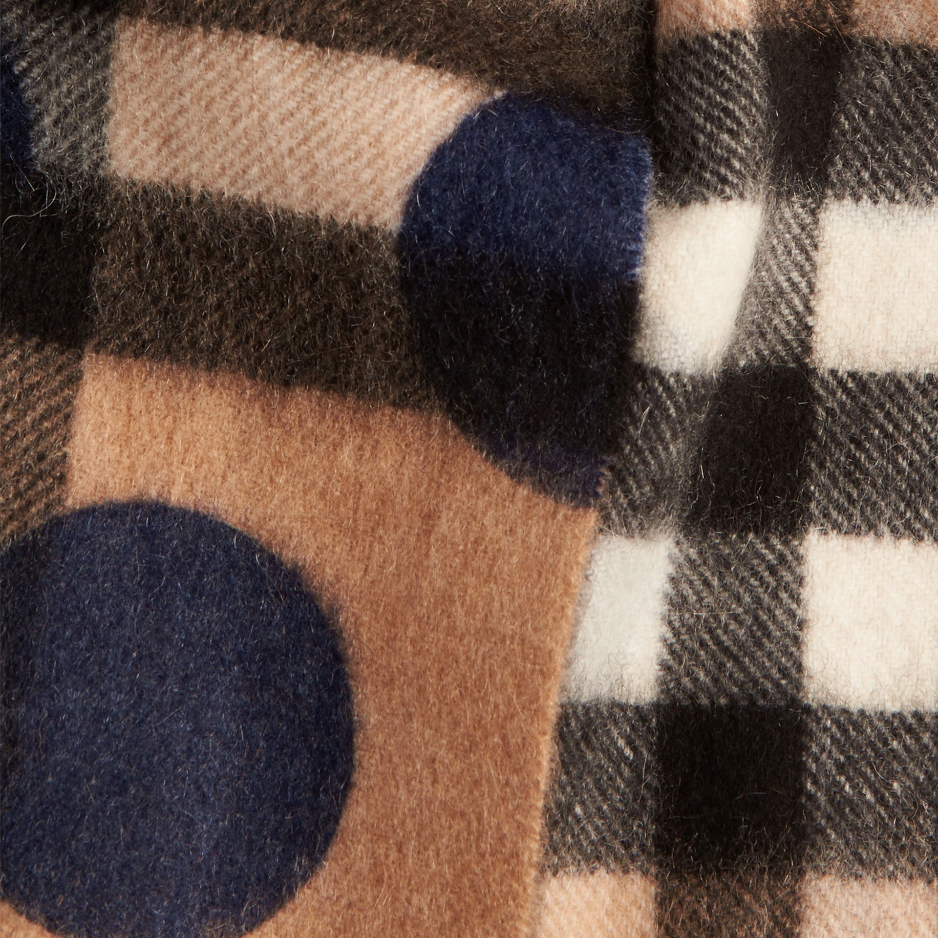 The Mini Classic Check Cashmere Scarf with Spots in Indigo Blue | Burberry Canada - gallery image 3