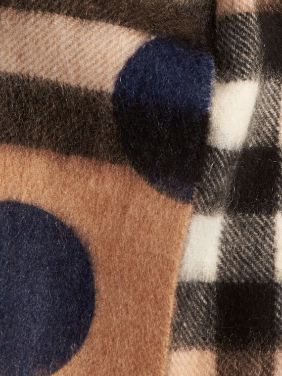 Indigo blue The Mini Classic Cashmere Scarf in Check and Dots - cell image 3