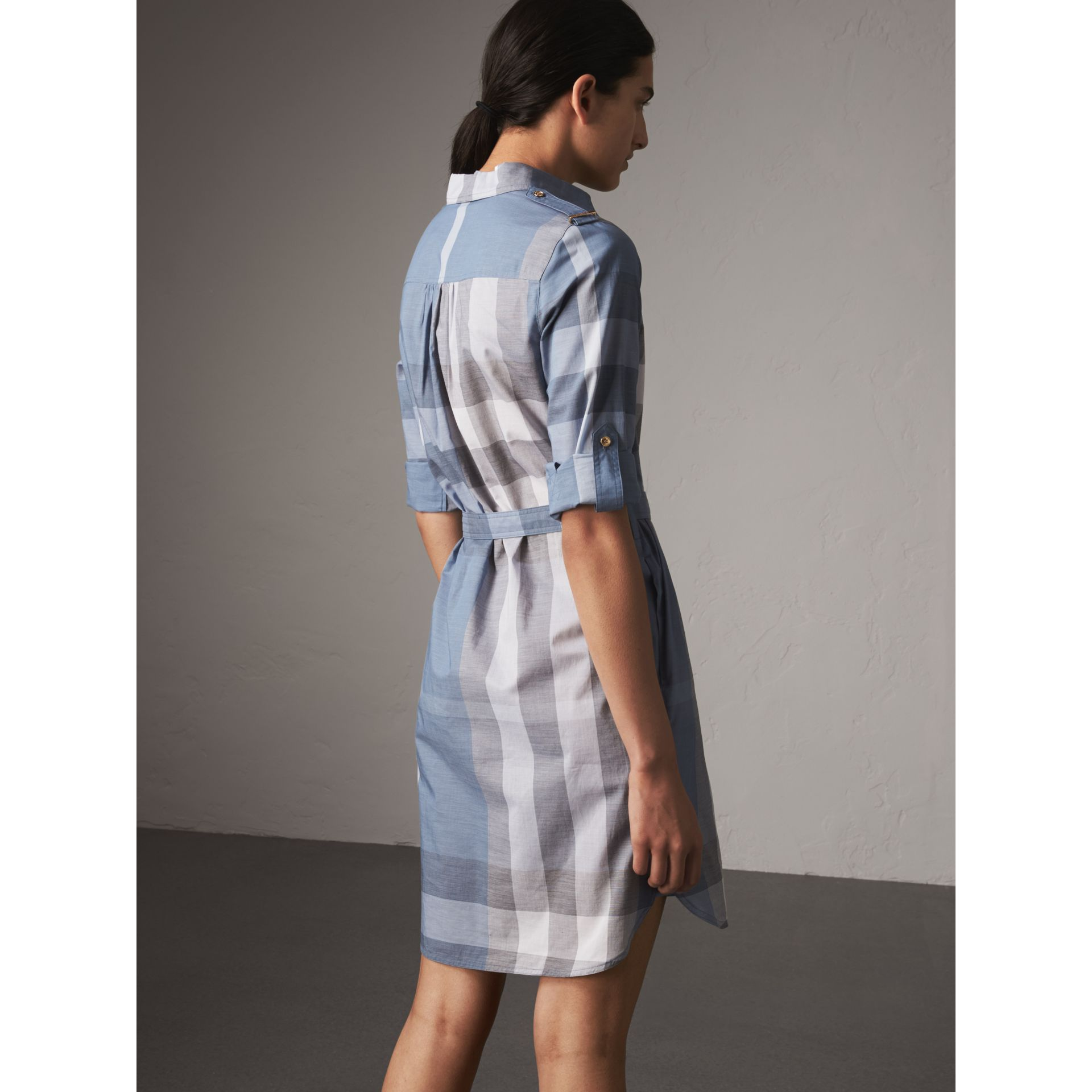 Tie-waist Check Cotton Shirt Dress in Canvas Blue - Women | Burberry - gallery image 2